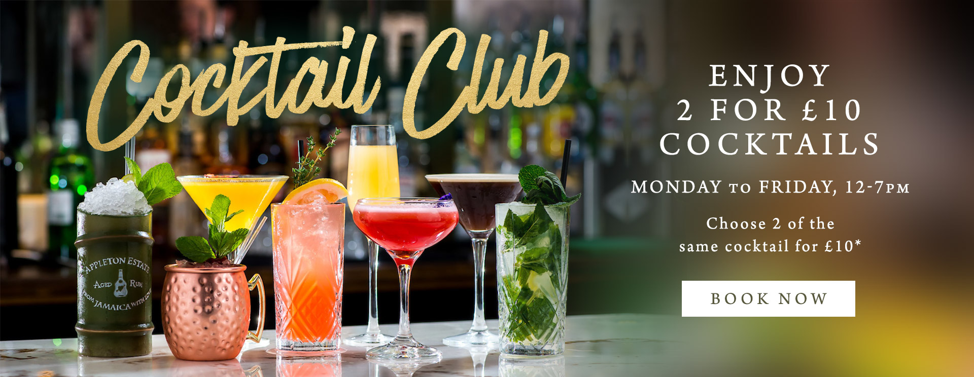 2 for £10 cocktails at The Mossbrook Inn
